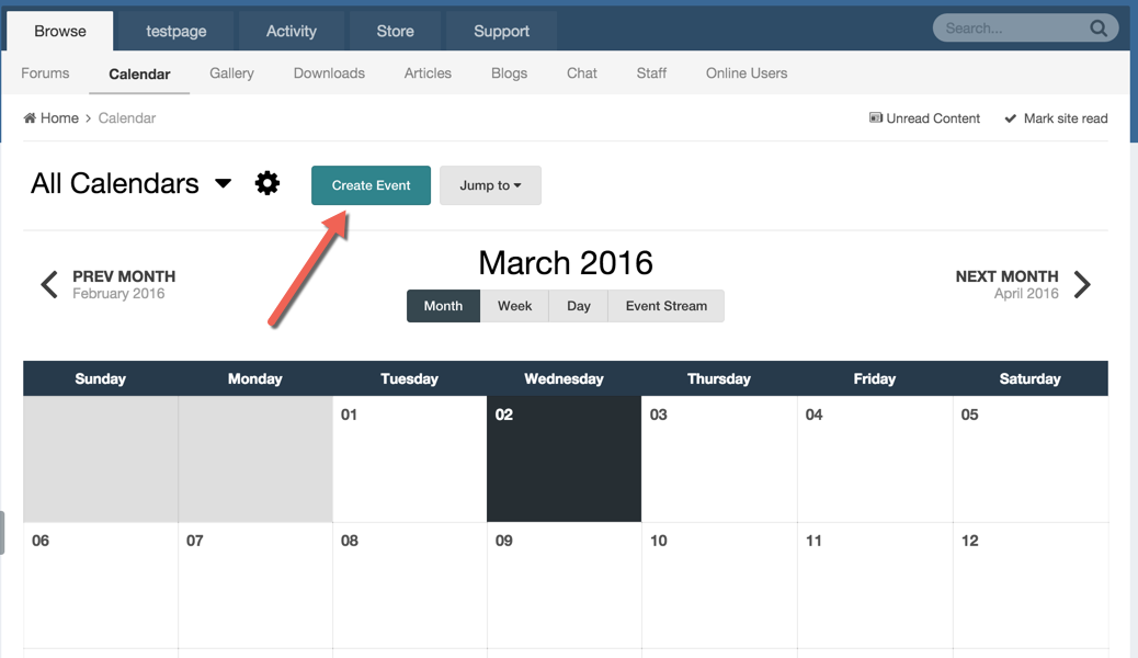 creating events calendar invision community
