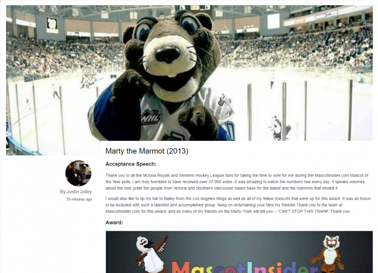 Marty the Marmot  2013    Professional Mascot of the Year   MascotInsider.png