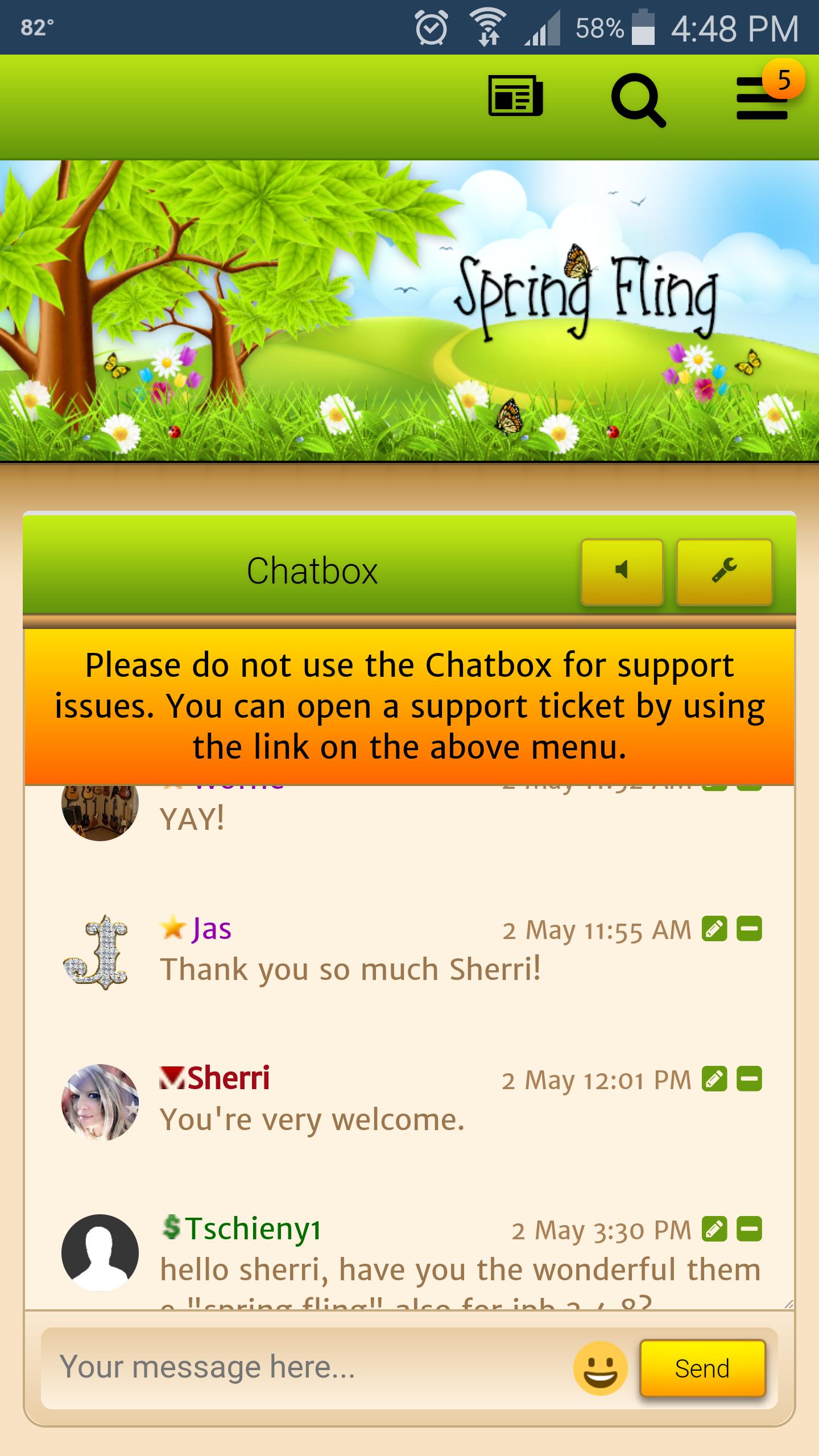 Fling com support