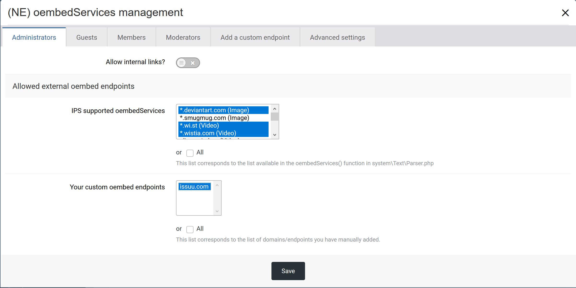 (NE) oembedServices management