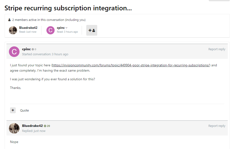 Poor Stripe integration for Recurring Subscriptions - Feedback and