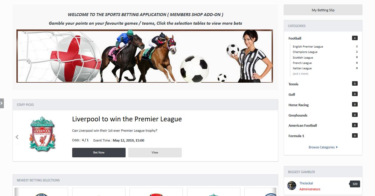 Sports Betting App ( Members Shop Add-On )